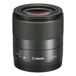 Canon EF-M 32mm lens f/1.4 Macro IS STM Front Top with cap
